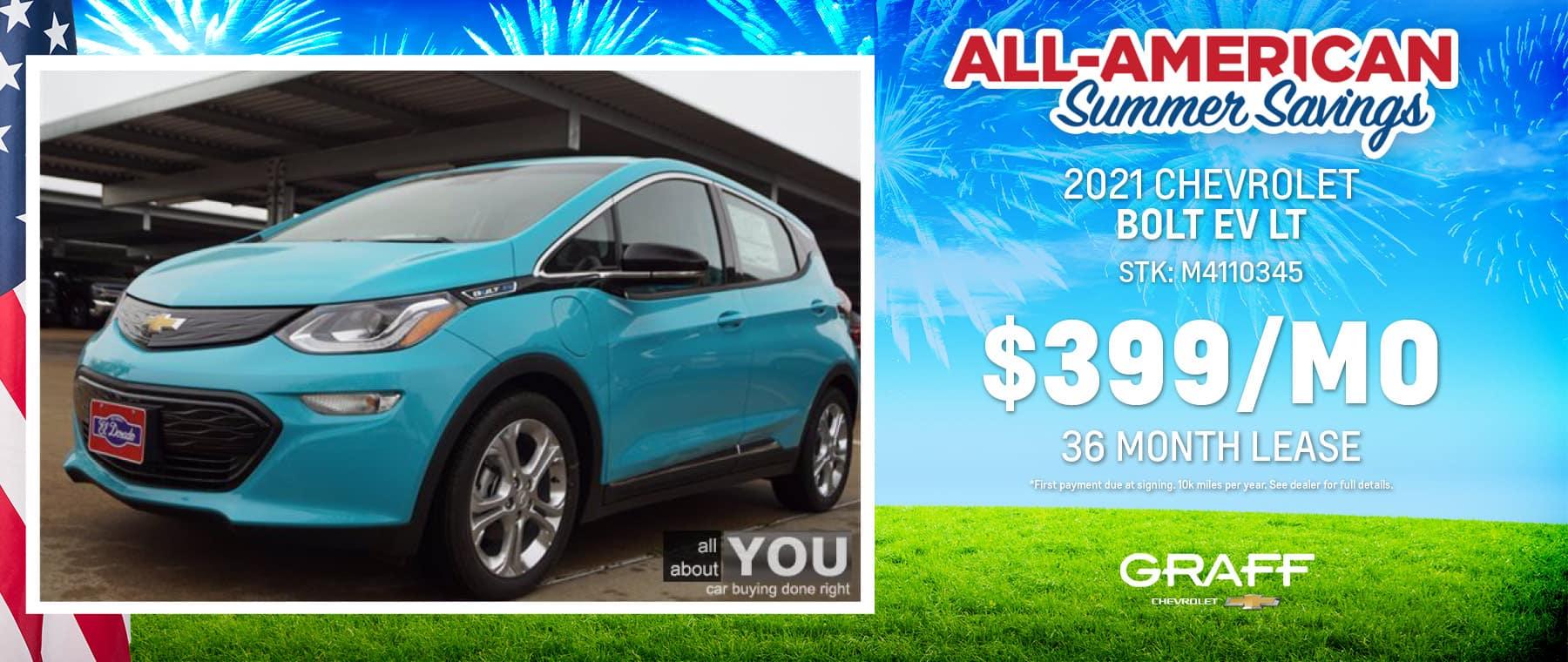 2021 Chevrolet Bolt LT Lease | Grand Prairie, TX