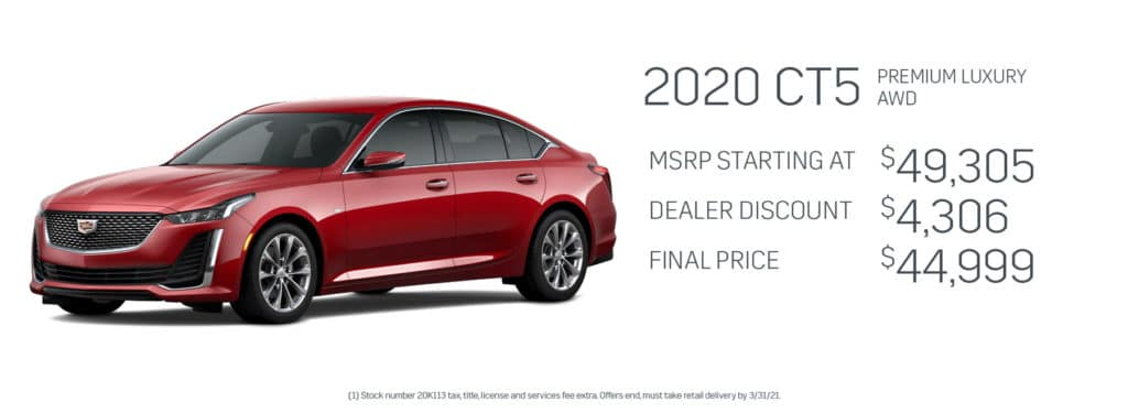 Save up to $4,306 on a new 2020 Cadillac CT5
