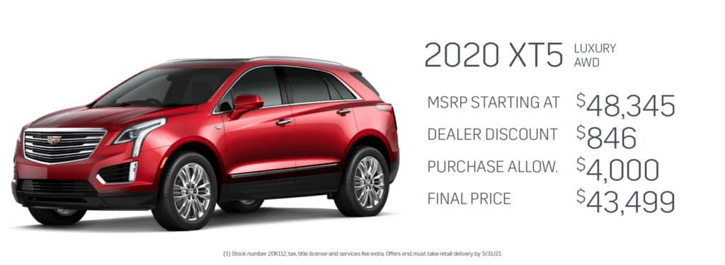 Save up to $4,846 on a new 2020 Cadillac XT5
