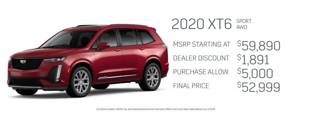 Save up to $6,891 on a new 2020 Cadillac XT6