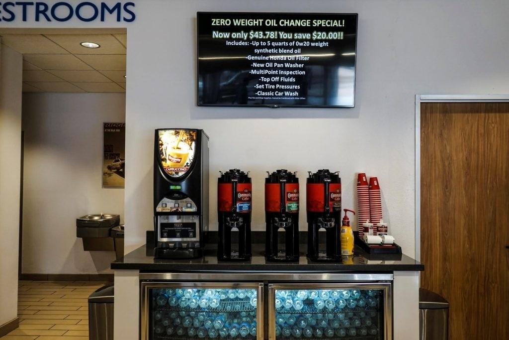 Holmes Honda, Honda Shreveport, Complimentary Snacks, Community coffee, water, cappucino, snacks