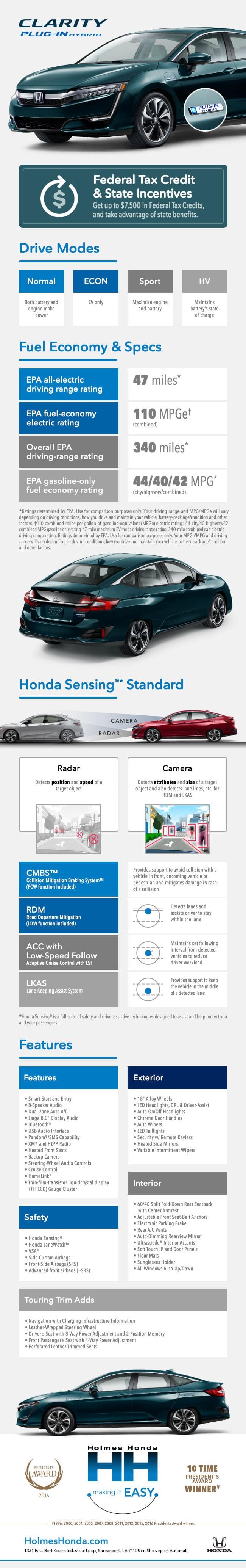 Holmes Honda, Honda Clarity, 2018 Honda Clarity, Honda Clarity Shreveport