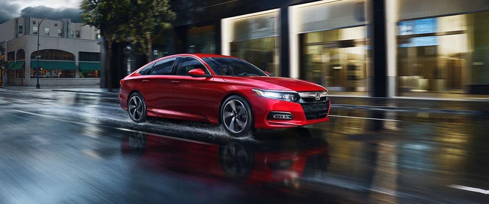 2018 Honda Accord Red Driving Rain