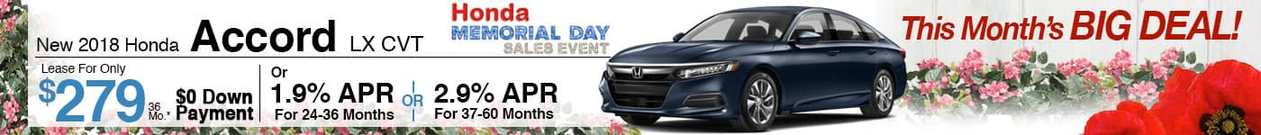 Lease a Brand New 2018 Accord LX CVT for $279/month!