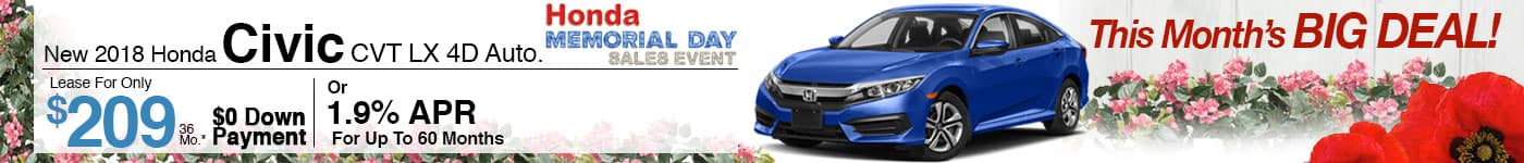 Lease a Brand New 2018 Civic CVT LX for $209/month!
