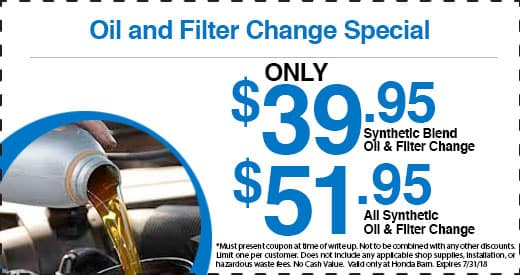 Honda Barn Oil and Filter Change Special