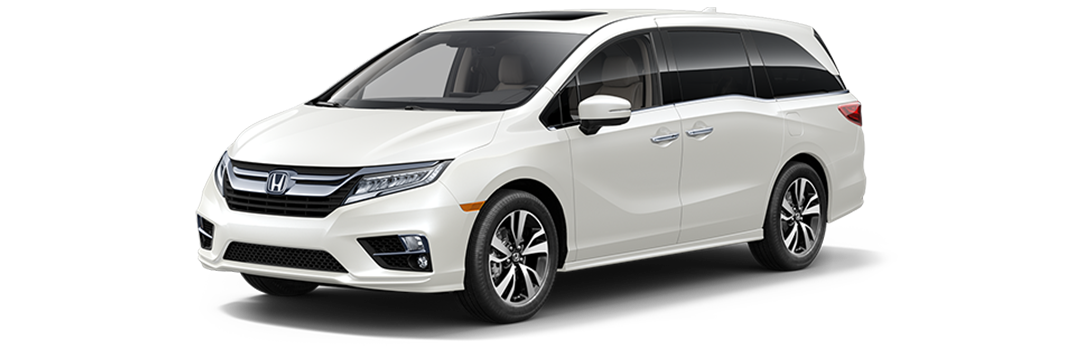 New 2019 Honda Odyssey Elite in White Diamond Pearl exterior at Honda of Aventura in North Miami Beach