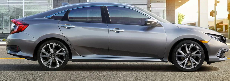 Profile view of a 2020 Honda Civic in Lunar Silver Metallic