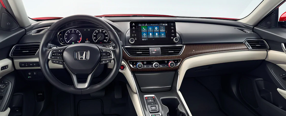 Interior cockpit view of a new 2020 Honda Accord