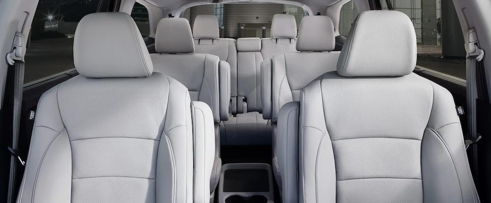 2021 honda pilot interior white seats front to back view