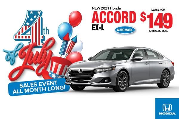 2021 Honda Accord EX-L Automatic Sedan