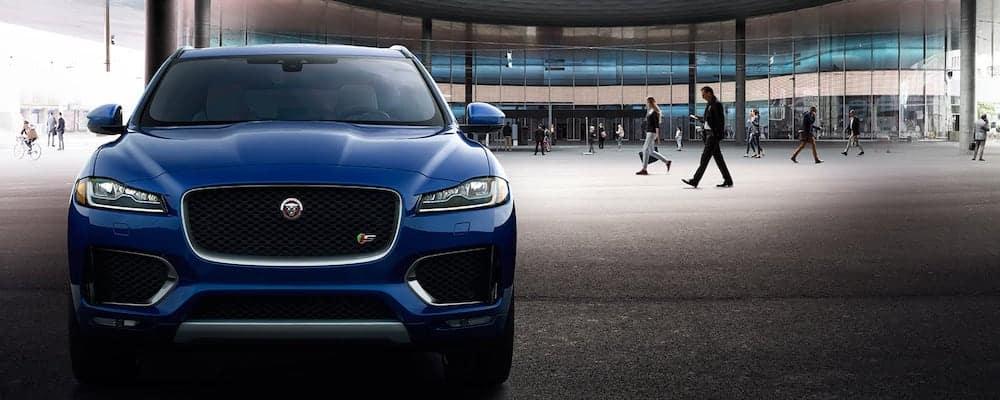 2019 Jaguar F-PACE in blue with Pedestrian Traffic