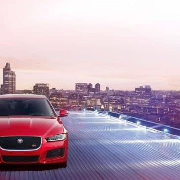 2019 Jaguar XE front view on a lighted driveway