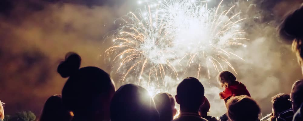fireworks display with crowd watching in foreground