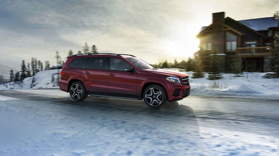 2018 Mercedes-Benz GLS driving in the snow