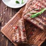 steak on wooden platter