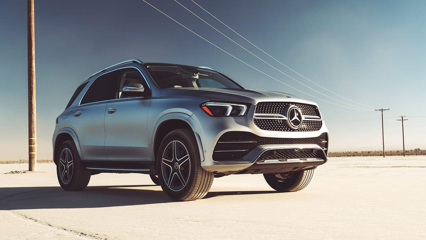 2020 MB GLE silver driving on highway