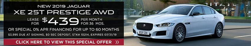 Lease a new 2019 JAGUAR XE 25T PRESTIGE AWD for $439 a month for 36 months. Or get special 0% APR financing for up to 60 months