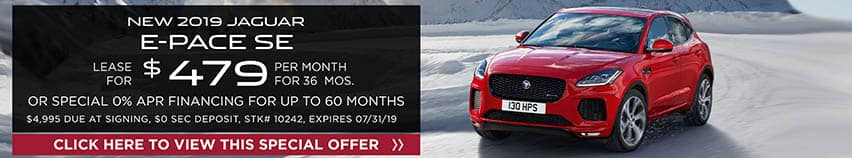 Lease a new 2019 JAGUAR E-PACE SE for $479 a month for 36 months. Or get special 0% APR financing for up to 60 months