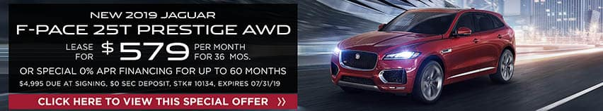 Lease a new 2019 JAGUAR F-PACE 25T PRESTIGE AWD for $579 a month for 36 months. Or get special 0% APR financing for up to 60 months