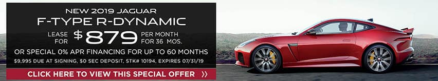 Lease a new 2019 JAGUAR F-TYPE R-DYNAMIC for $879 a month for 36 months. Or get special 0% APR financing for up to 60 months
