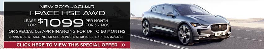 Lease a new 2019 JAGUAR I-PACE HSE AWD for $1,099 a month for 36 months. Or get special 0% APR financing for up to 60 months