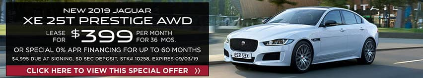 Lease a new 2019 Jaguar XE 25T PRESTIGE AWD for $399 a month for 36 months. Or get special 0% APR financing for up to 60 months