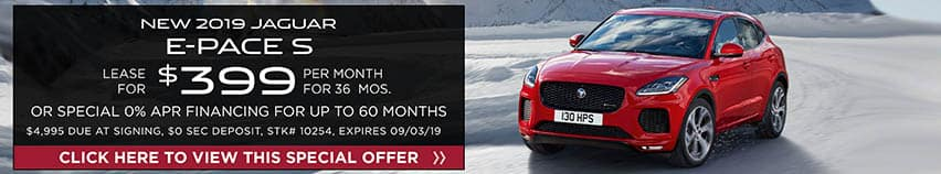 Lease a new 2019 Jaguar E-PACE S for $399 a month for 36 months. Or get special 0% APR financing for up to 60 months