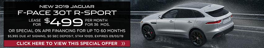 Lease a new 2019 Jaguar F-PACE 30T R-SPORT for $499 a month for 36 months. Or get special 0% APR financing for up to 60 months