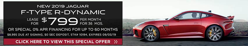 Lease a new 2019 Jaguar F-TYPE R-DYNAMIC for $799 a month for 36 months. Or get special 0% APR financing for up to 60 months