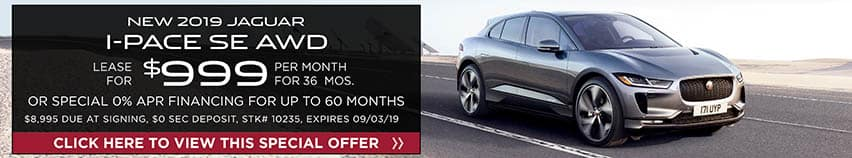 Lease a new 2019 Jaguar I-PACE SE AWD for $999 a month for 36 months. Or get special 0% APR financing for up to 60 months