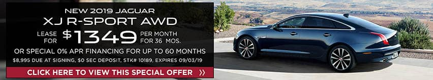 Lease a new 2019 Jaguar XJ R-SPORT AWD for $1,349 a month for 36 months. Or get special 0% APR financing for up to 60 months