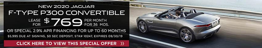Lease a new 2020 Jaguar F-TYPE P300 Convertible for $769 a month for 36 months. Or get special 2.9% APR financing for up to 60 months