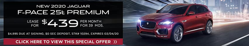 Lease a new 2020 Jaguar F-PACE 25t PREMIUM for $439 a month for 39 months.