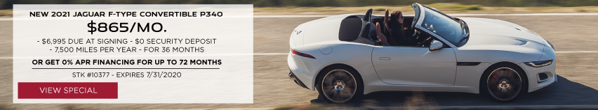 NEW 2021 JAGUAR F-TYPE CONVERTIBLE P340. $865 PER MONTH. 36 MONTH LEASE TERM. $6,995 CASH DUE AT SIGNING. $0 SECURITY DEPOSIT. 10,000 MILES PER YEAR. OR GET 0 PERCENT APR FOR UP TO 72 MONTHS. OFFER ENDS 7/31/2020. STOCK NUMBER 10377. VIEW SPECIAL. WHITE JAGUAR F-TYPE CONVERTIBLE DRIVING DOWN ROAD IN CITY.