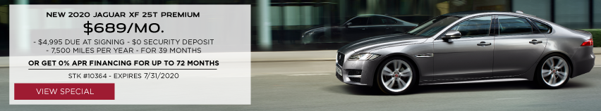 NEW 2020 JAGUAR XF 25T PREMIUM . $689 PER MONTH FOR 39 MONTHS. $4,995 DUE AT SIGNING. $0 SECURITY DEPOSIT. 7,500 MILES PER YEAR. OR GET 0% APR FINANCING FOR UP TO 72 MONTHS. STOCK NUMBER 10364. EXPIRES JULY 31, 2020. VIEW SPECIAL. SILVER JAGUAR XF DRIVING DOWN ROAD IN CITY.