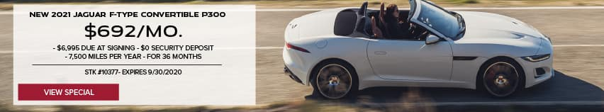 NEW 2021 JAGUAR F-TYPE CONVERTIBLE P340. $692 PER MONTH. 36 MONTH LEASE TERM. $6,995 CASH DUE AT SIGNING. $0 SECURITY DEPOSIT. 7,500 MILES PER YEAR. OFFER ENDS 9/30/2020. STOCK NUMBER 10377. VIEW SPECIAL. WHITE JAGUAR F-TYPE CONVERTIBLE DRIVING DOWN ROAD IN CITY.