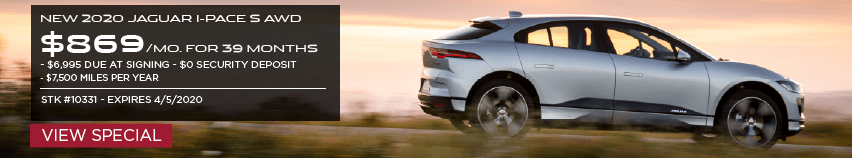 NEW 2020 JAGUAR I-PACE S AWD. $869 PER MONTH FOR 39 MONTHS. $6,995 DUE AT SIGNING. $0 SECURITY DEPOSIT. $7,500 MILES PER YEAR. STOCK NUMBER 10331. EXPIRES 4.5.2020. VIEW SPECIAL. SILVER JAGUAR I-PACE DRIVING DOWN ROAD AT SUNSET.