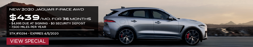 NEW 2020 JAGUAR F-PACE AWD. $439 PER MONTH FOR 36 MONTHS. $4,995 DUE AT SIGNING. $0 SECURITY DEPOSIT. $7,500 MILES PER YEAR. STOCK NUMBER 10294. EXPIRES 4/5/2020. VIEW SPECIAL. SILVER JAGUAR F-PACE DRIVING DOWN ROAD IN DESERT.