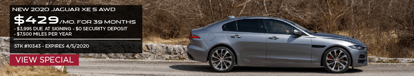 NEW 2020 JAGUAR XE S AWD. $429 PER MONTH FOR 39 MONTHS. $3,995 DUE AT SIGNING. $0 SECURITY DEPOSIT. $7,500 MILES PER YEAR. STOCK NUMBER 10343. EXPIRES 4.5.2020. VIEW SPECIAL. GRAY JAGUAR XE DRIVING DOWN COUNTRY ROAD.