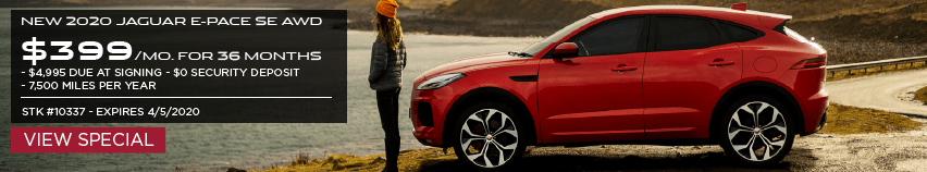 NEW 2020 JAGUAR E-PACE SE AWD. $399 PER MONTH FOR 36 MONTHS. $4,995 DUE AT SIGNING. $0 SECURITY DEPOSIT. $7,500 MILESPER YEAR. STOCK # 10337. EXPIRES 4/5/2020. VIEW SPECIAL. RED JAGUAR E-PACE PARKED NEAR LAKE.