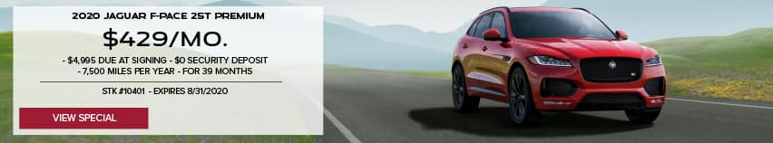 2020 JAGUAR f-pace 25t premium. $429 PER MONTH. $4,995 DUE AT SIGNING. $0 SECURITY DEPOSIT. 7,500 MILES PER YEAR. FOR 39 MONTHS. STOCK NUMBER 10401. EXPIRES 8.31.2020. RED JAGUAR F-PACE DRIVING THROUGH VALLEY.