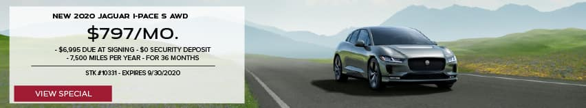 NEW 2020 JAGUAR I-PACE S AWD . $797 PER MONTH FOR 36 MONTHS. $6,995 DUE AT SIGNING. $0 SECURITY DEPOSIT. 7,500 MILES PER YEAR. STOCK NUMBER 10331. EXPIRES SEPTEMBER 30, 2020. VIEW SPECIAL. SILVER JAGUAR I-PACE DRIVING DOWN ROAD IN VALLEY.