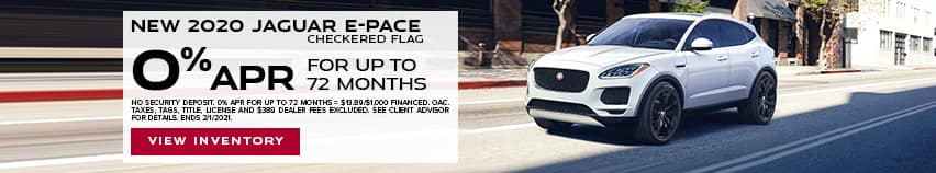 New 2020 Jaguar E-PACE Checkered Flag - 0% APR for up to 72 months.
