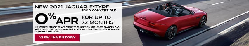 New 2021 Jaguar F-TYPE P300 Convertible - 0% APR for up to 72 months.