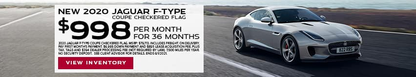 New 2020 Jaguar F-TYPE Coupe Checkered Flag - $998 per month for 36 months.