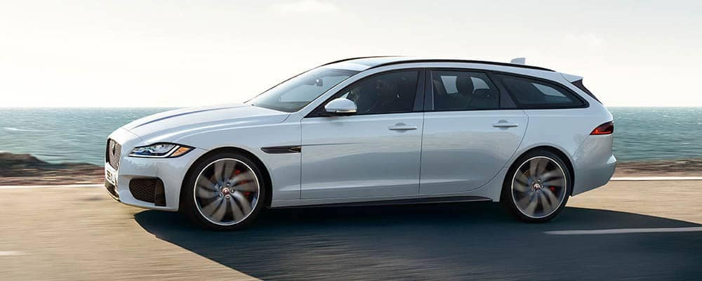 2018 Jaguar XF Sportbrake Driving Next to Ocean