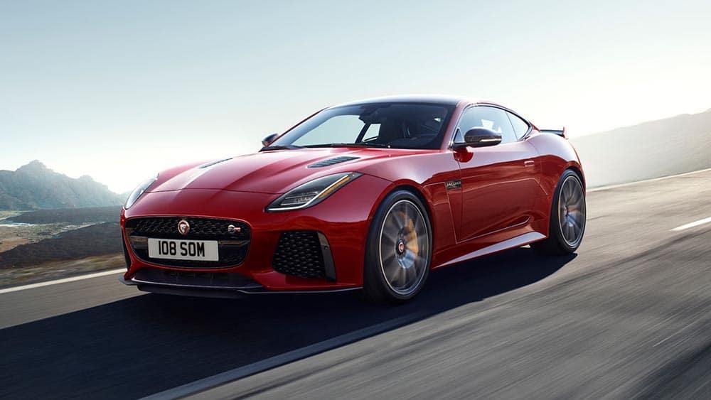 2019 Jaguar F-TYPE SVR In Caldera Red Driving