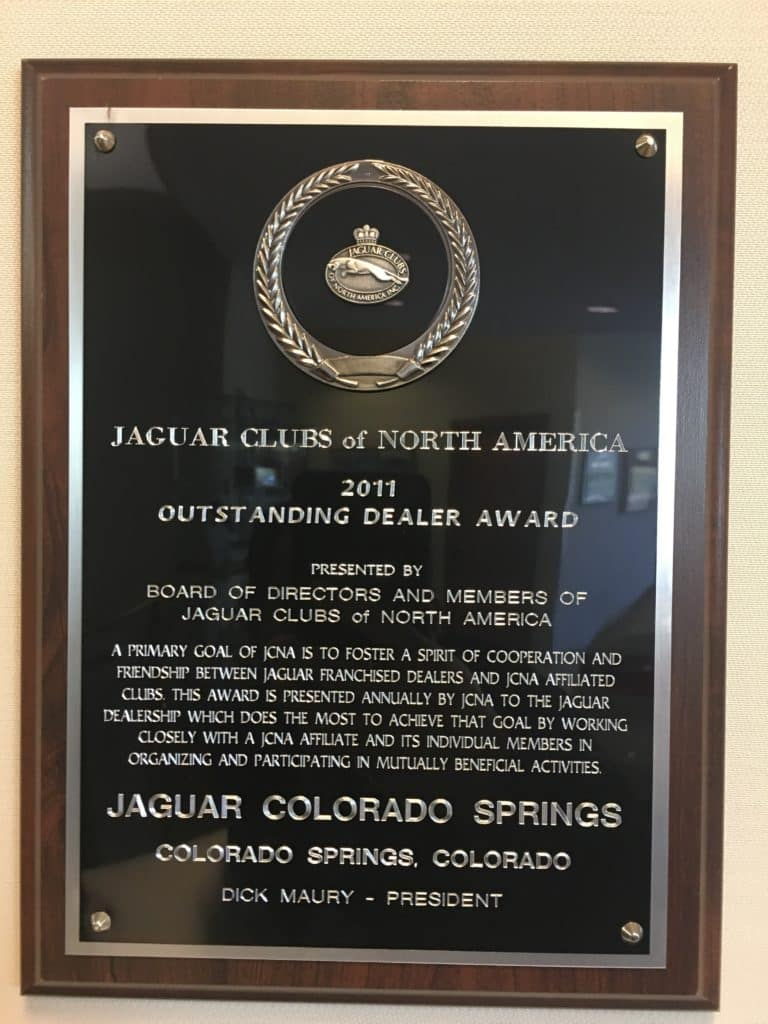 2011 Jaguar Clubs of North America Dealer of the Year Jaguar Colorado Springs