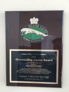 2016 Jaguar Clubs of North America Dealer of the Year Award Jaguar Colorado Springs